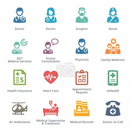 Illustration for This set contains medical services icons that can be used for designing and developing websites, as well as printed materials and presentations. - Royalty Free Image