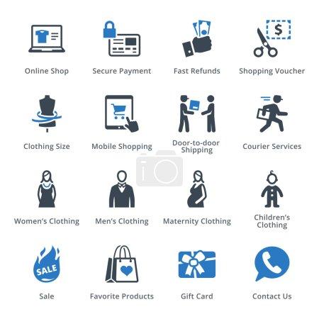 Illustration pour Cet ensemble contient des icônes de commerce électronique qui peuvent être utilisées pour concevoir et développer des sites Web, ainsi que des documents imprimés et des présentations. . - image libre de droit