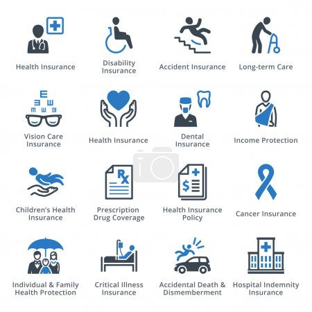 Health Insurance Icons - Blue Series