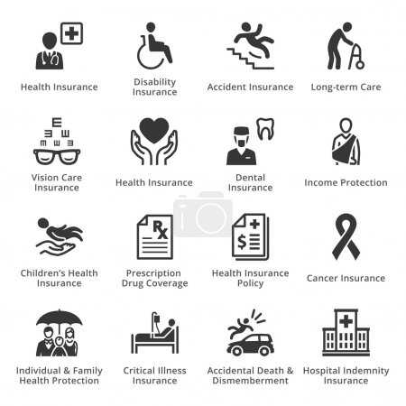 Illustration for This set contains health insurance icons that can be used for designing and developing websites, as well as printed materials and presentations. - Royalty Free Image