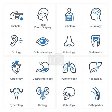 Illustration for This set contains Medical & Health Care Icons that can be used for designing and developing websites, as well as printed materials and presentations. - Royalty Free Image