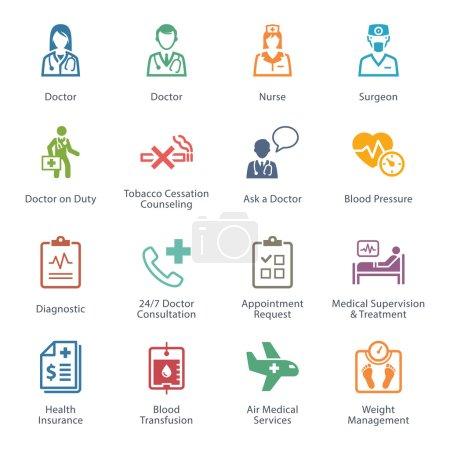 Illustration pour Cet ensemble contient des icônes médicales et de soins de santé qui peuvent être utilisées pour concevoir et développer des sites Web, ainsi que des documents imprimés et des présentations. . - image libre de droit