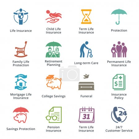 Illustration for This set contains life insurance icons that can be used for designing and developing websites, as well as printed materials and presentations. - Royalty Free Image