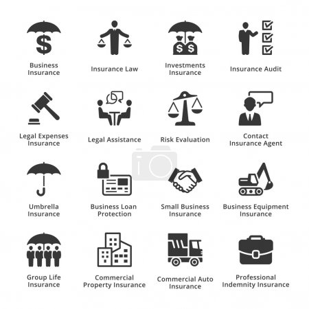Illustration for This set contains business insurance icons that can be used for designing and developing websites, as well as printed materials and presentations. - Royalty Free Image