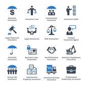 Obchodní pojištění ikony - modrá řada