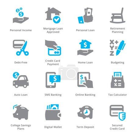 Illustration pour Cet ensemble contient des icônes de finances personnelles et d'affaires qui peuvent être utilisées pour concevoir et développer des sites Web, ainsi que des documents imprimés et des présentations. . - image libre de droit
