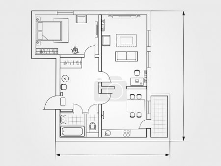 the architectural plan. a bright background. top view
