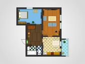 The layout of the apartment with furniture The view from the top