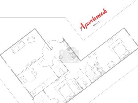 Illustration pour Design de couverture. Projet d'appartement avec mobilier. Cuisine, salon, deux chambres et balcon. Inscription manuscrite. Illustration vectorielle de la vue de dessus. Fond blanc - image libre de droit