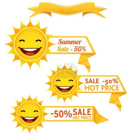 Illustration pour Souriant lunettes de soleil discount prix vectoriel illustration. PSE10 - image libre de droit