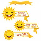 Smiling sun sunglasses discount pricetags vector illustration EPS10
