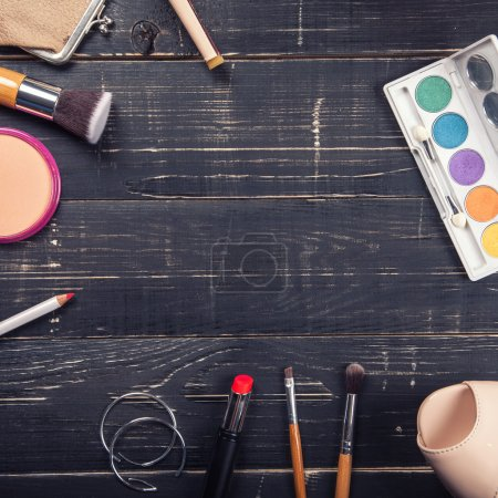 Fashion cosmetics on table