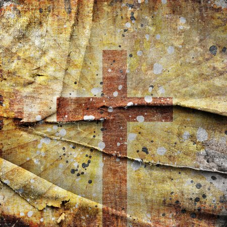 Photo for Christianity representation with the symbol of a cross on parchment - Royalty Free Image