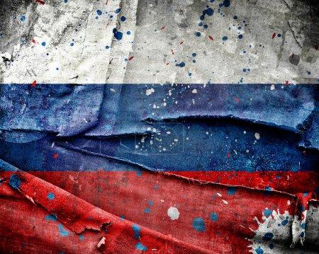 Photo pour Grungy drapeau russe avec rayures et taches - image libre de droit