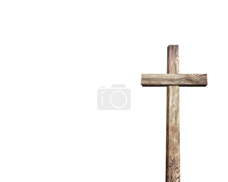 Photo for Old wooden cross religious symbol isolated on white background - Royalty Free Image