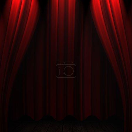 Photo pour Beau fond rideaux de théâtre rouge - image libre de droit