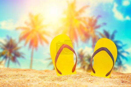 Photo for Flip-flop on the beach  in the summer - Royalty Free Image