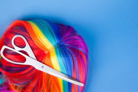 Scissors with color wig
