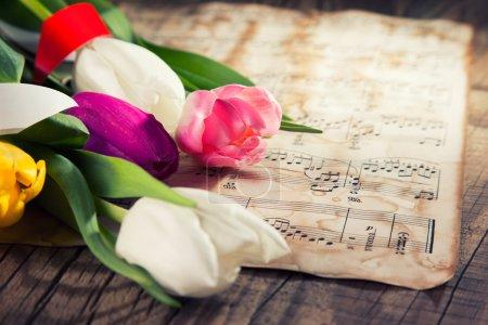 Photo pour Tulipes colorées sur un fond de papier de notes de musique - image libre de droit