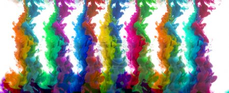 Photo for Colorful inks in water on white background - Royalty Free Image