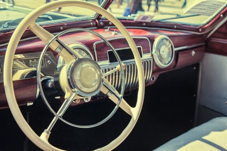 Photo for Interior of a classic vintage car close-up - Royalty Free Image