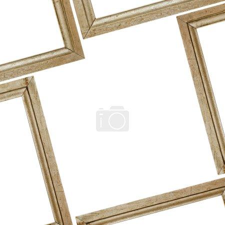 Photo pour Cadres en bois sur fond blanc avec chemin de coupe - image libre de droit