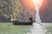 long boat on beautiful island