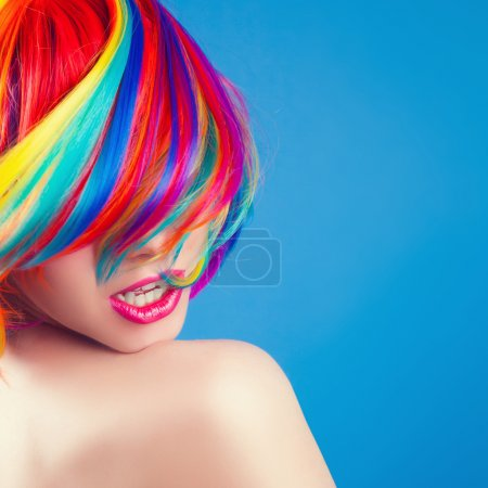 Woman in colorful wig