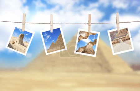 Photo for Vacation photos hanging on a rope, Egypt - Royalty Free Image