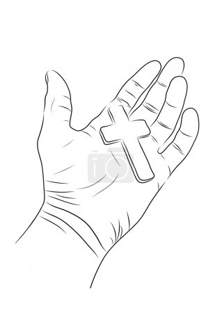 vector hand holding red cross in contour