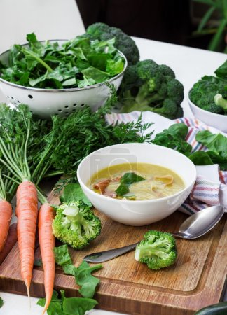 Organic fresh vegetables and spring soup