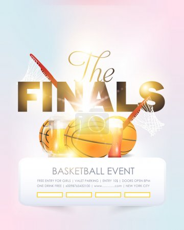 Basketball Event Poster, Flyer, Banner Template Vector Background