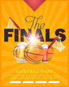 Basketball Event Poster Flyer Banner Template Vector Background