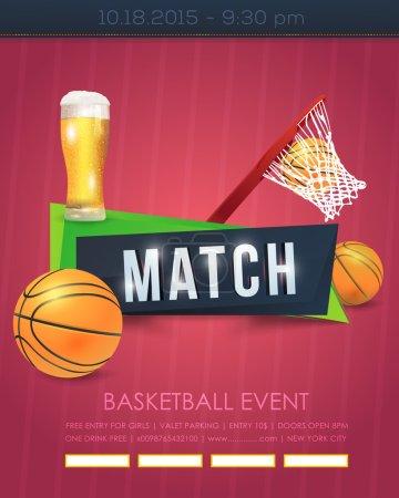 Basketball Event Poster, Flyer, Banner Template Vector Background