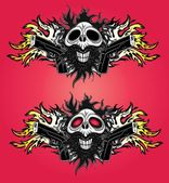 demonic human skull glock pistols fire flames background