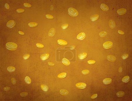 Photo pour Pièces d'or sur fond vintage. Entreprise. Richesse. - image libre de droit