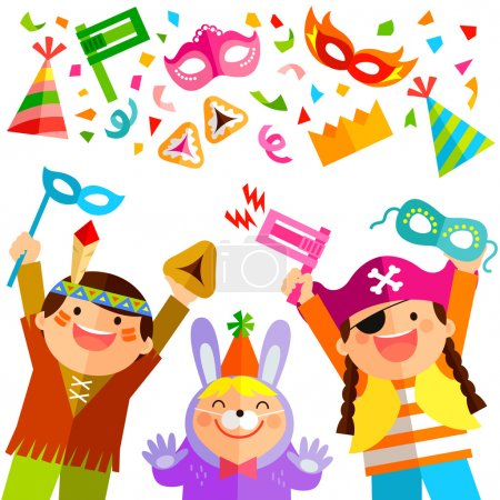 Illustration for Happy kids celebrating Purim with costumes and related items - Royalty Free Image
