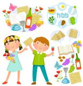 Passover cartoons set