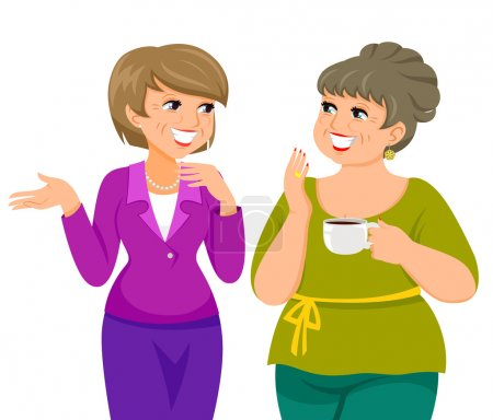 Illustration for Two mature women talking happily - Royalty Free Image