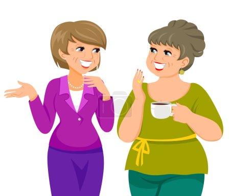 Illustration pour Deux femmes mûres parler joyeusement - image libre de droit