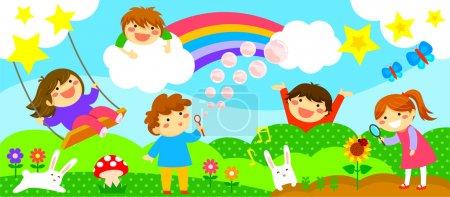 Illustration pour Bande large horizontale avec des enfants heureux, jouer dans un monde fantastique - image libre de droit