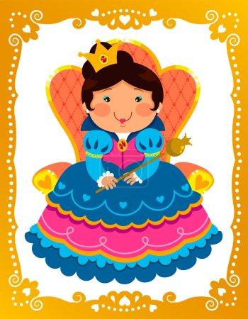 Illustration pour Reine de la bande dessinée assis sur son trône dans un cadre décoré - image libre de droit