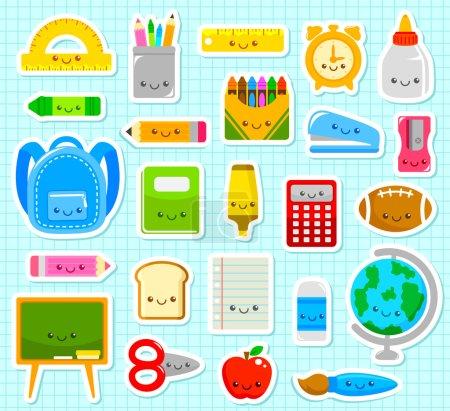 Photo pour Collection de fournitures scolaires de dessin animé mignon - image libre de droit
