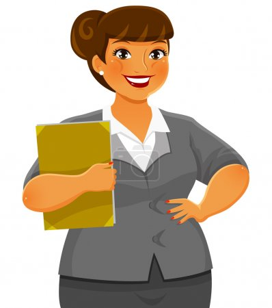 Illustration for Curvy business woman smiling confidently - Royalty Free Image