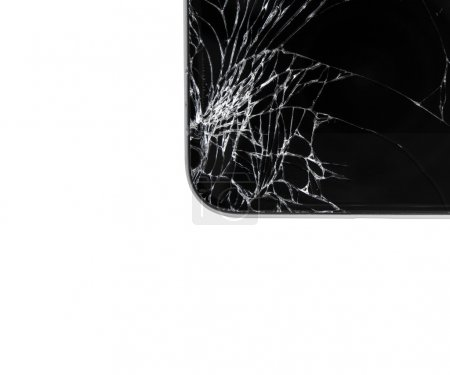 Damaged modern phone on white background