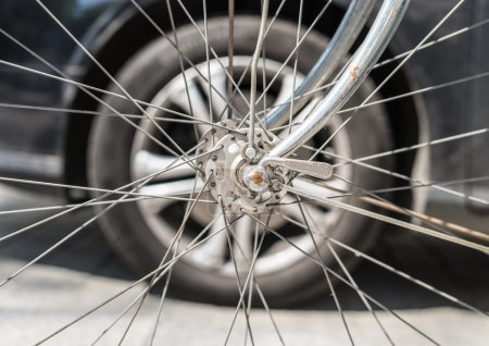 Bicycle wheel with car wheel