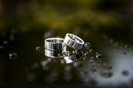 Wedding rings between drops