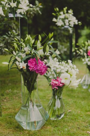 Flowers decorations for a wedding ceremony.