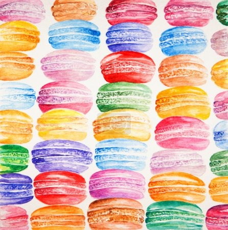 Beautiful card with watercolor painted colorful french dessert macaroons.