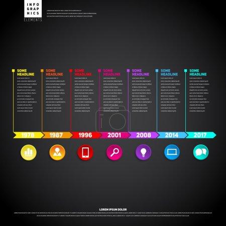 Illustration pour Infographie chronologique. Avec des icônes. Modèle de conception vectorielle - image libre de droit